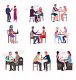 people met at the bar and drink wine and enjoy the vector image vector image