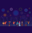 people watching fireworks crowd men women vector image