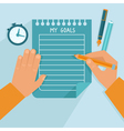 personal goals list in flat style vector image vector image