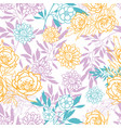 pink yellow blue leaves and flowers vector image