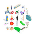 relaxation on vacation icons set isometric style vector image vector image