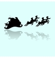 Santa Silhouette And Reflection vector image vector image
