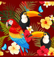 seamless birds and flowers vector image