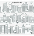 seamless city skyline versions in thin line style vector image vector image