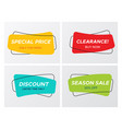 set of curved soft shaped rectangle sale tags vector image