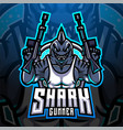 shark gunner esport mascot logo vector image vector image