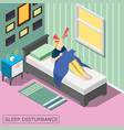 sleep disturbance isometric background vector image vector image