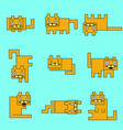 square orange cats on a blue background vector image
