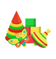 toys of different colors santa vector image vector image