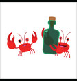 two crabs with a bottle vector image