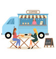 urban cafe trailer with coffee fastfood vector image vector image