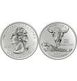 usa money washington quarter 25 cent coin montana vector image vector image