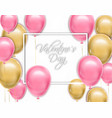 valentine day card with balloons realistic vector image vector image