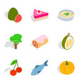 vegetarian diet icons set isometric style vector image vector image