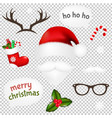 vintage christmas set transparent background vector image