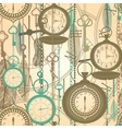Vintage Watches Seamless Pattern vector image vector image