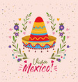 viva mexico colorful poster with mexican hat vector image