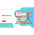 web design page decorated by device icons vector image vector image