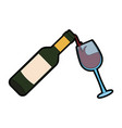 wine bottle serving on cup vector image