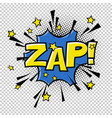 zap comic sound comic speech bubble halftone vector image vector image