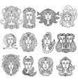 zodiac sign girls set horoscope collection vector image vector image