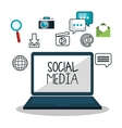 laptop social media design isolated vector image