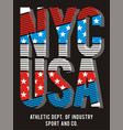 athletic nyc usa american flag vector image