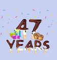 47th years happy birthday card vector image vector image
