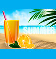 a glass of orange juice against the background of vector image vector image
