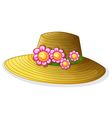A hat with smiling flowers vector image vector image