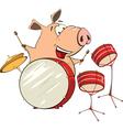a pig musician cartoon vector image vector image