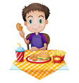 a young boy eating in a fastfood restaurant vector image