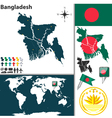 Bangladesh map world vector image vector image