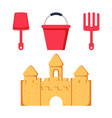 beach toys and sand castle child pail shovel and vector image