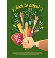 Big sale of stationery for school and handmade vector image
