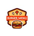 burger very tasty logo emblem icon vector image vector image