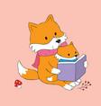 cartoon cute autumn red fox reading book vector image