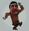 cartoon funny man fooling around with peppers vector image vector image