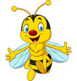 cartoon happy bee isolated on white background vector image vector image