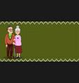 cartoon loving elderly couple on green fabric vector image vector image