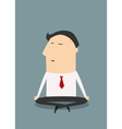 Cartoon meditating businessman character in flat vector image