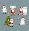 cartoon set of santa holding blank empty scroll vector image vector image
