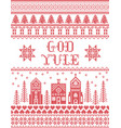 christmas pattern with winter wonderland village vector image vector image