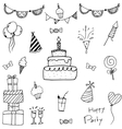 Collection bithday doodle art vector image vector image
