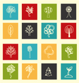 collection of flat outlined tree icons vector image
