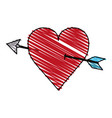 color crayon stripe image red heart pierced by vector image vector image