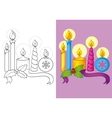 Coloring Book Of Different Christmas Candles vector image vector image