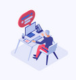 customer support operator isometric vector image