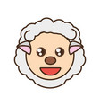 cute sheep face kawaii style vector image vector image