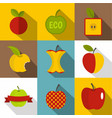 different apple logo icons set flat style vector image vector image